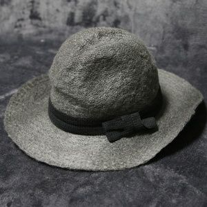 Accessories - Charcoal Wide Brim Felt Sun Hat with Bow Tie